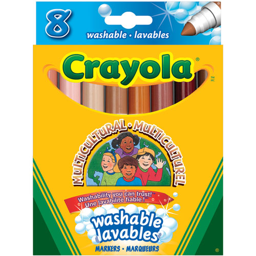 Multicultural markers, crayons, and pencils