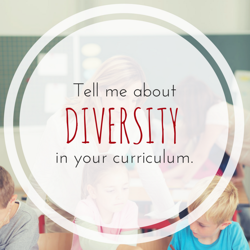 "White teacher leans over three white children. Text overlay: ""Tell me about diversity in your curriculum."""